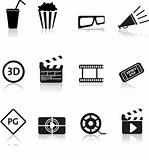 movie and cinema icon set