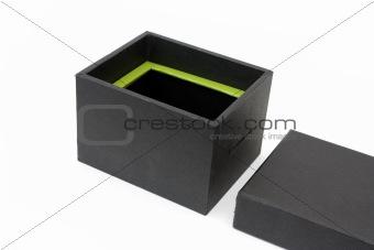 Black open gift box