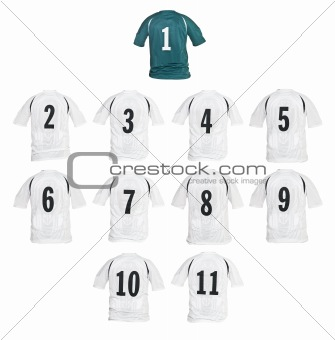 Football shirts formed as a team