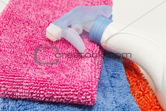 Cleaning supplies isolated