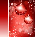 Christmas red background with ball. Vector