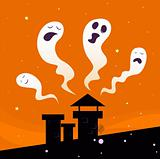 Halloween night: Spooky ghost characters isolated on orange background