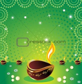 green deepawli background with deepak
