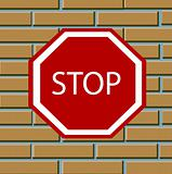 Sign of the foots on brick wall