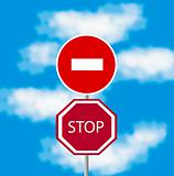 Traffic signs on background sky