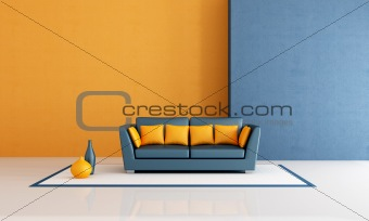 blue and orange living room