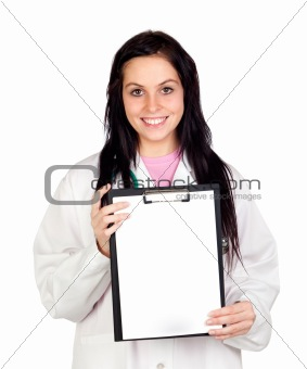 Attractive doctor woman with blank paper on clipboard