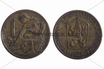 Czechoslovakia coins close up