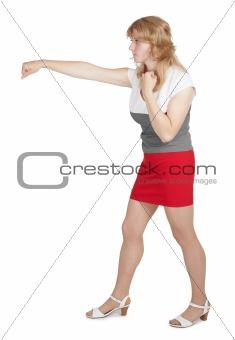 Woman strikes a hand