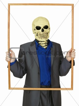 Masked man skeleton, placed himself in frame