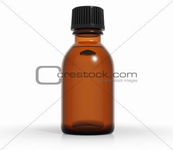 Medical bottle of brown color glass