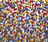Colorful pills medical background