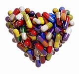 Heart created of colorful medical pills