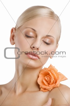 closed eyes girl with wet rose