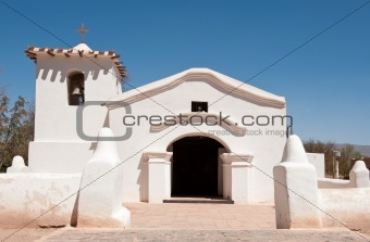 Old adobe church in the countryside of Argentina.