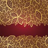 Golden leaf lace on red background