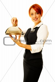 caucasian woman as restaurant waitress is hoding a winch
