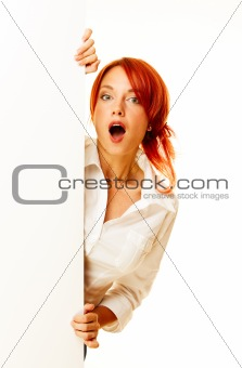 adult girl is holding a blank white billboard