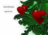 Christmas branch and ball in form heart. Vector