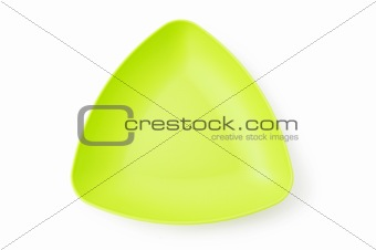 Green plate isolated on the white background