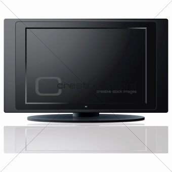 Modern LCD TV set over a white background.