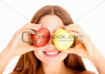 Portrait of attractive young caucasian woman with the apples