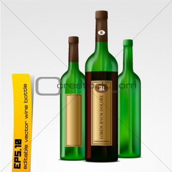 Editable vector wine bottles