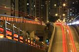 Hong Kong freeway system at night