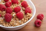 cereal with raspberries