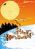 Halloween card with stars, moon, forest, witch and bats
