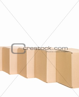 Cardboard boxes in a row