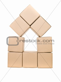 Cardboard boxes formed as a house