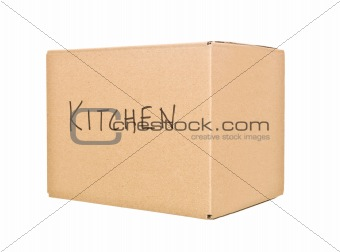 Cardboard Box marked Kitchen
