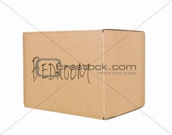 Cardboard Box marked Bedroom