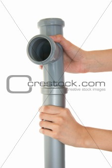 Gray plastic pipes isolated