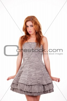 beautiful woman with elegant dress , isolated on white, studio shot