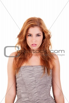 beautiful and elegant woman, isolated on white, studio shot