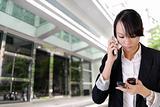 Anxious business woman phone