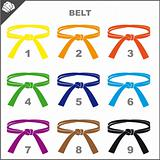 MARTIAL ARTS COLORED BELTS.