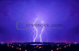 Thunderstorm and perfect Lightning over city