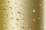 Perfect gold water drops background with big and small drops
