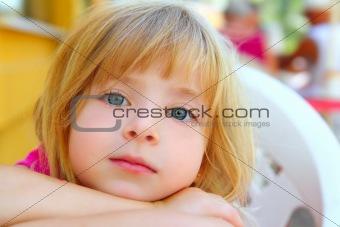 closeup face little blond girl portrait smile