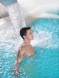 spa hydrotherapy man waterfall jet turquoise
