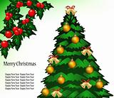 Vector Christmas background with tree, mistletoe