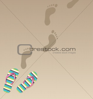 flip flops and foot prints