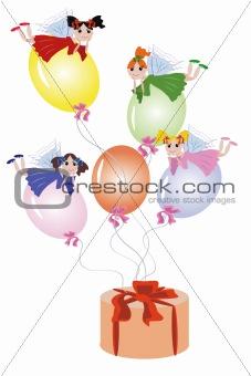 Fairies flying on balloons