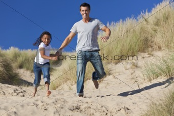Man & Girl, Happy Father and Daughter Running At Beach