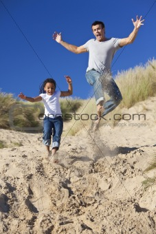 Man & Girl, Happy Father and Daughter Jumping At Beach