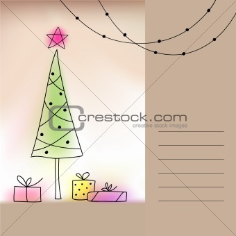 Card with Christmas tree and presents