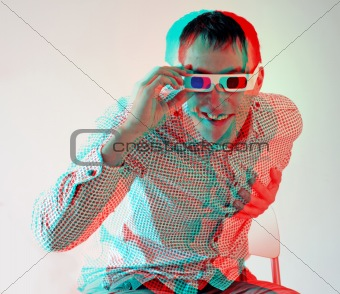 men in stereo  glasses